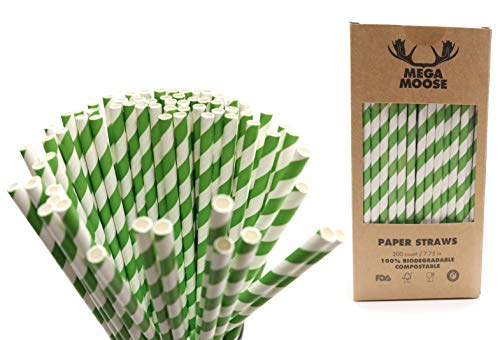 (Mega Moose Biodegradable Paper Straws - 200 ct. Striped Paper Drinking Straws with Ultra Compost - Bulk Paper Straws for Wedding Decorations, Smoothies, Bridal Showers, and Baby Showers)