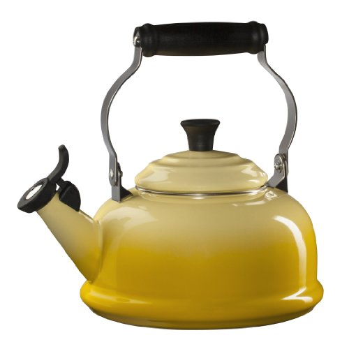Le Creuset Enamel-on-Steel Whistling 1-4/5-Quart Teakettle, (Loop Tea Kettle)