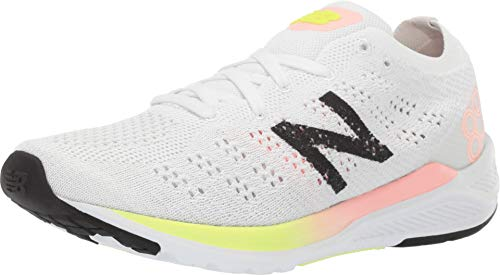 New Balance Women's 890v7 Running Shoe, White/Guava GLO/Bleached Lime GLO, 9 B US