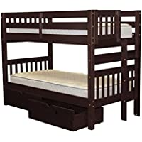 Bedz King Bunk Beds Twin over Twin Mission Style with End Ladder and 2 Under Bed Drawers, Cappuccino
