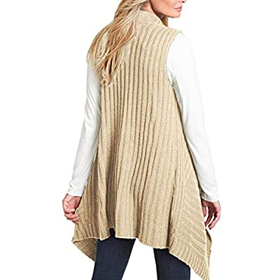 Sovoyontee Women's Knit Long Draped Plaid Tunic Sweater Vest Coat with Pockets at Women's Clothing store