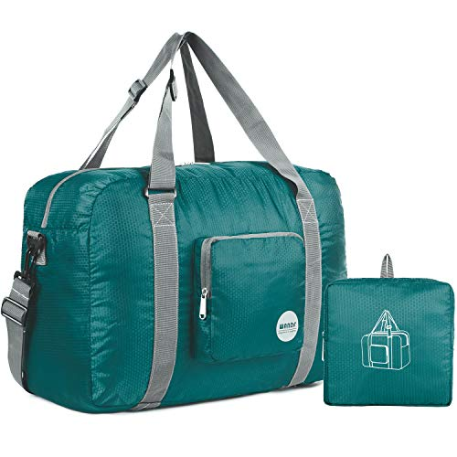 (Wandf Foldable Travel Duffel Bag Luggage Sports Gym Water Resistant Nylon (Dark)