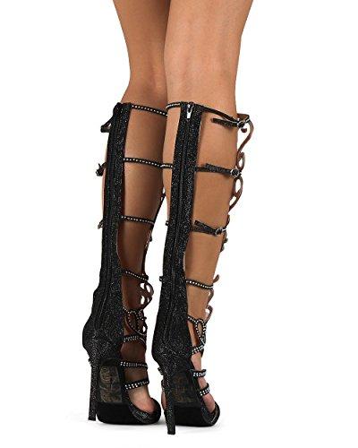 65d68603fdc8b2 Celeste Chelsea-01 Glitter Knee High Open Toe Rhinestone Gladiator Stiletto  Sandal DG04 - Black