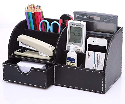(WorldSeng 7 Storage Compartments Multifunctional PU Leather Office Desk Organizer,Desktop Stationery Storage Box Collection,Business Card/Pen/Pencil/Mobile Phone/Remote Control Holder Desk Storage)