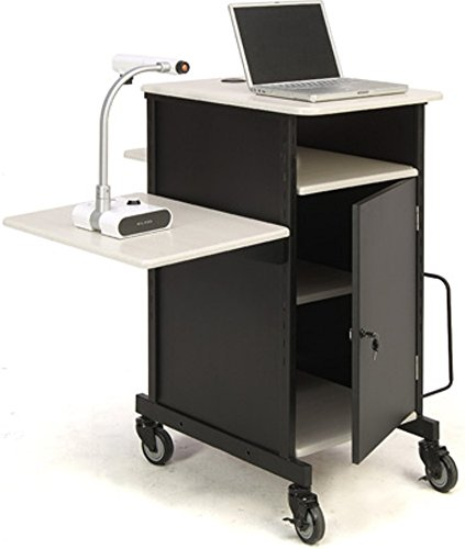 Oklahoma Sound PRC-450 Jumbo Plus Presentation Cart, 33' Length x 21' Width x 40' Height, Ivory Woodgrain