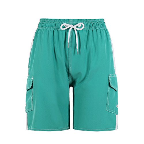 (QRANSS Boys Kids Green Swim Trunks Board Shorts with Cargo Pockets (Medium(8-10), Green1))