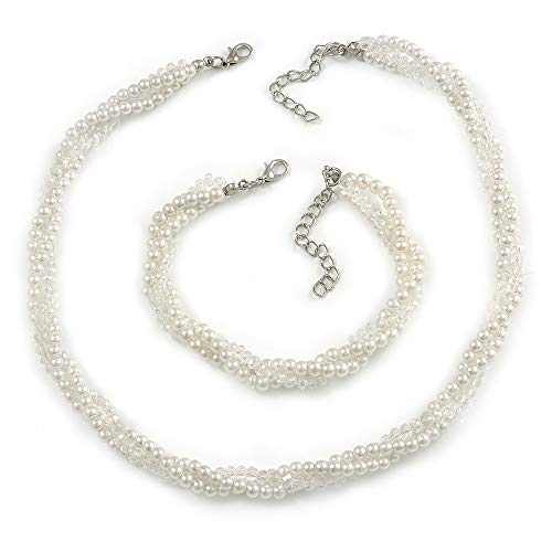 Avalaya 3 Strand Faux Pearl and Clear Glass Bead Twisted Necklace & Bracelet Set in Silver Tone - 40cm L/ 5cm Ext