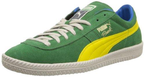 PUMA Men's Brasil FB Vintage Fashion Sneaker,Medium Green/Vibrant Yellow,9 M US