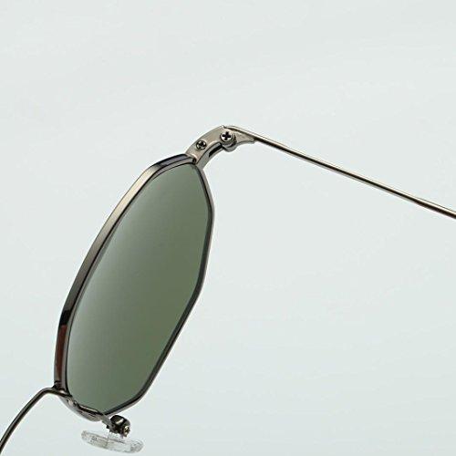 Rétro Femme en de Mode Lentille irrégularité de Rétro Vert cadre métal Lunettes soleil en Classique 1Zq1Tt