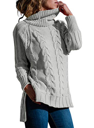 - CILKOO Women Grey Polo Neck Knit Long Sleeve Slim Cashmere Cozy Soft Pullover Sweater Jumper Tops US4-6 Small