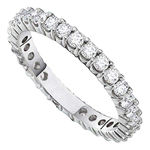 Womens Round Pave-set Diamond Eternity Wedding Band 2-Carat tw, in 14K White Gold from Roy Rose Jewelry (Diamond Band 2ct Eternity Tw)