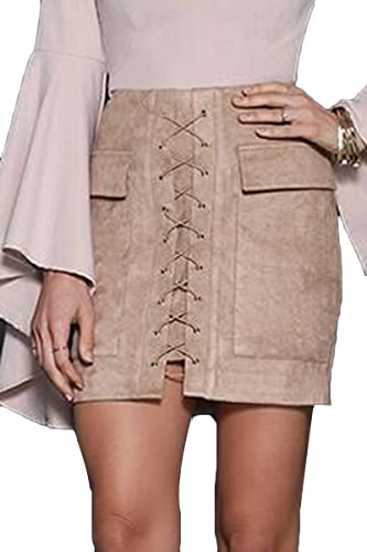 Prograce Winter Beige High Waist Faux Suede Bodycon Mini Skirt for Women M - Suede Leather Mini