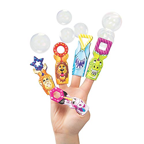 Fun Express Bubble Wand Puffy Finger Puppets | 10 Count | Great for Classroom Activities, Party Prizes, Kindergarten, Toddler Students, Children's Toys