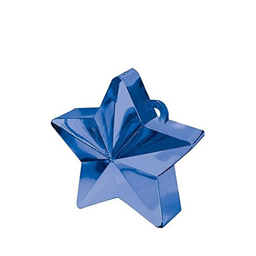 Wishing Star Electroplated Balloon Weight Party Decoration, Blue, Plastic Foil , 6.0 Ounces (6 Ounce Star Weight)