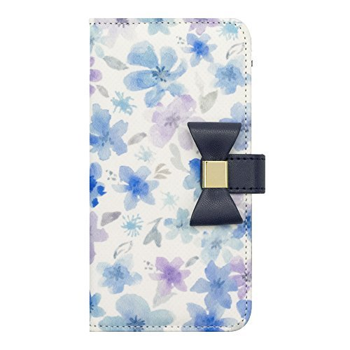 iPhone8/7/6s/6 Case, Flower Series wallet case(Watery Blue)
