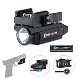 OLIGHT PL-Mini 2 Valkyrie 600 Lumens Cree XP-L HD CW Magnetic USB Rechargeable Compact Weaponlight with Adjustable Rail, Patch (Black)