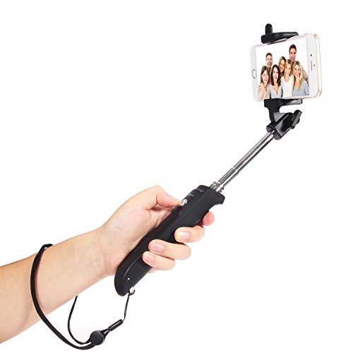 iclever 270 rotating viewing angle selfie stick with built in bluetooth remote folding. Black Bedroom Furniture Sets. Home Design Ideas
