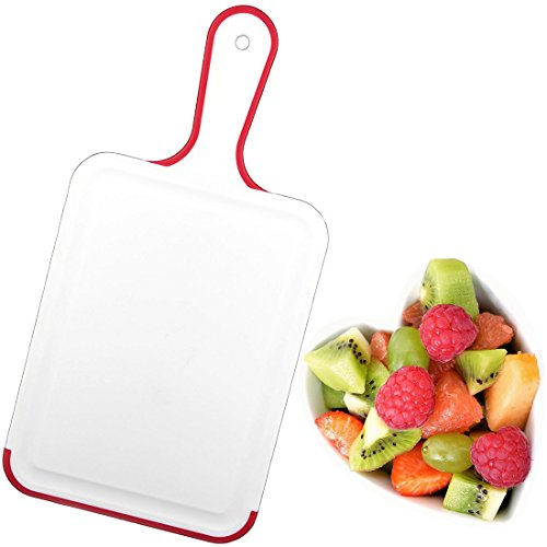 Plastic Cutting Chopping Board With Handle & Hanging Loop Non-Slip Design BPA Free - White/Red (Plastic Cutting Handle With Board)