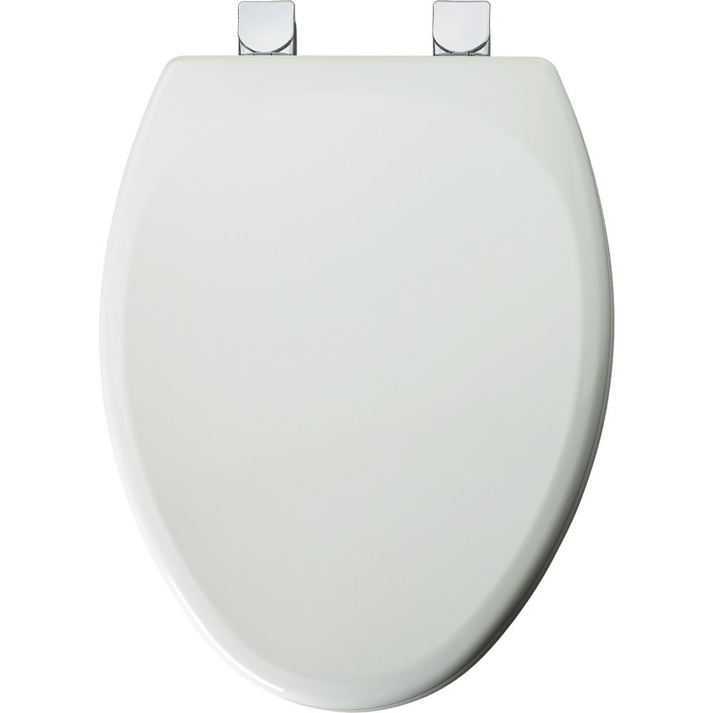 Mayfair Molded Wood Toilet Seat featuring Easy Clean & Change Hinges, STA-TITE Seat Fastening System & Chrome Metal Hinges, Elongated, White, 149CPEC 000