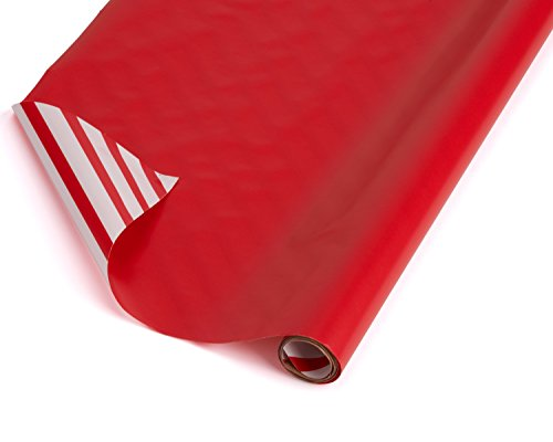 American Greetings Reversible Wrapping Paper, White with Red Stripes, 2.5' x 12' (068981045243)