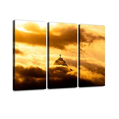 YKing1 Christ The Redeemer Statue in Clouds Wall Art Painting Pictures Print On Canvas Stretched & Framed Artworks Modern Hanging Posters Home Decor 3PANEL ()