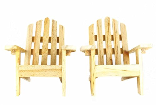 Mini Decorative Adirondack Style Plain Wood Chairs (Set of 2) - 3.75 inches long x 2.25 inches high at arms x 4 inches from back to base. Each order receives 2 chairs! Great for Wedding Cakes, fairy gardens Doll house furniture - patio-furniture, patio-chairs, patio - 41Dh3PUKukL -