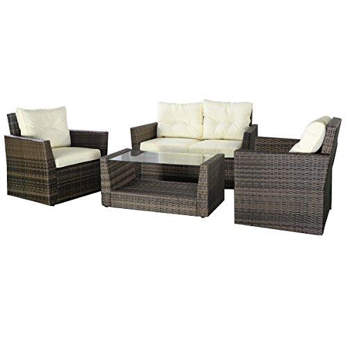Tangkula 4pc Rattan Sofa Furniture Set Patio Lawn Cushioned Seat Gradient Brown Wicker Home