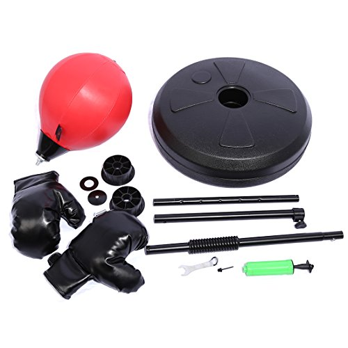 Boxing Training Ball PINCHUANGHUI Adjustable Children Standing Boxing Training Ball Punching Training Set with Gloves- Black + Red by PINCHUANGHUI (Image #2)