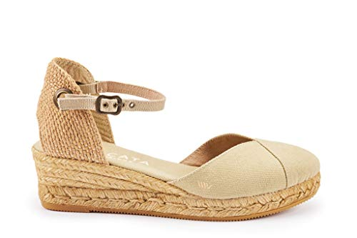 inch With 2 In Toe Classic Pubol strap Closed Viscata Beige Heel Espadrilles Made Spain Ankle 8wzH148nq