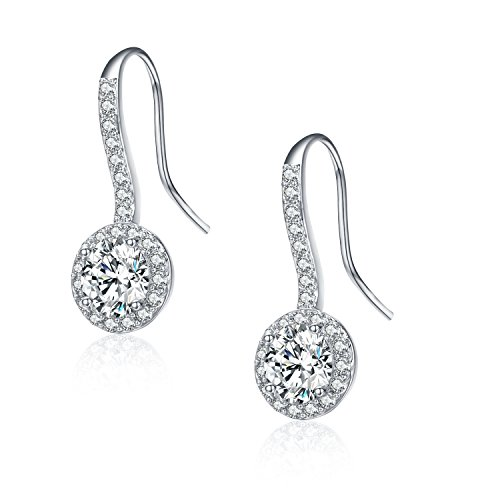 SBLING Platinum-Plated AAAA Cubic Zirconia Halo Drop Earrings (3.5 cttw) from SBLING