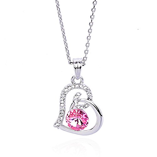 NickAngelo's Birthstone Love Heart Pendant Necklace Platinum Plated Made With Swarovski Elements Elegant Custom Jewelry For Women by Month And Color of Crystal (June, Alexandrite)