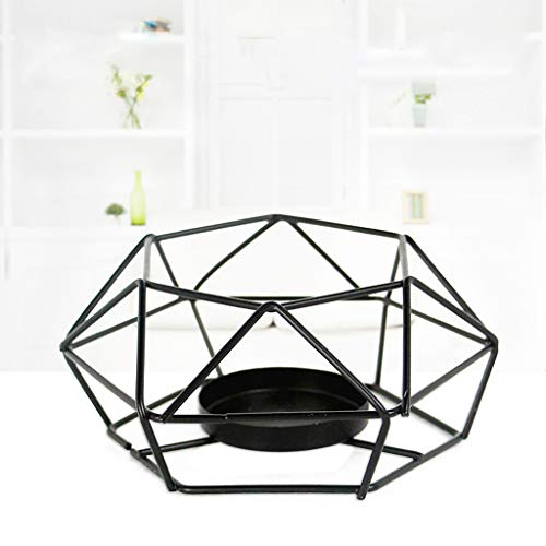 Maikouhai Nordic Metal Geometric Hanging Creative Gift Night Table Lantern Candle Holder Candlestick Light Home Decor Lamp, Black (S:13x13x5.5cm)