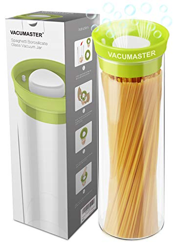 Tall Pasta Glass Container with Vacuum Seal Airtight Lid - Vacumaster Long Food Storage Container For Spaghetti Linguine Capellini Noodle BPA Free Pasta Keeper (40 oz)