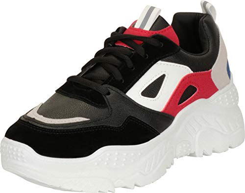 Cambridge Select Women's Retro 90s Ugly Dad Colorblock Lace-Up Chunky Platform Fashion Sneaker,9 B(M) US,Black Multi