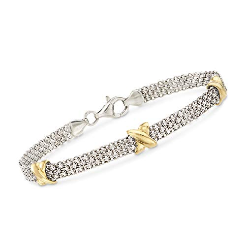 (Ross-Simons Sterling Silver and 14kt Yellow Gold Bismark Link Chain Bracelet)