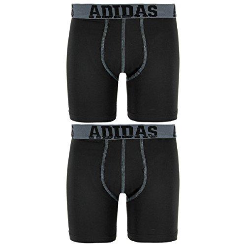 adidas Kids Boy's Sport Performance Climalite 2-Pack Boxer Brief (Big Kids) Black/Thunder Black/Thunder XL (18 Big Kids)