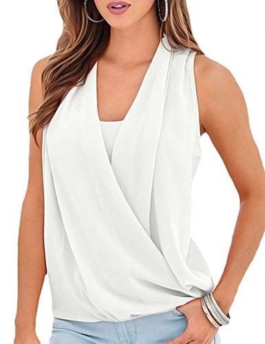 - Imagine Women's V Neck Chiffon Double Layered Wrap Casual Loose Tank Top Sleeveless Blouse Shirts(WH,3XL)