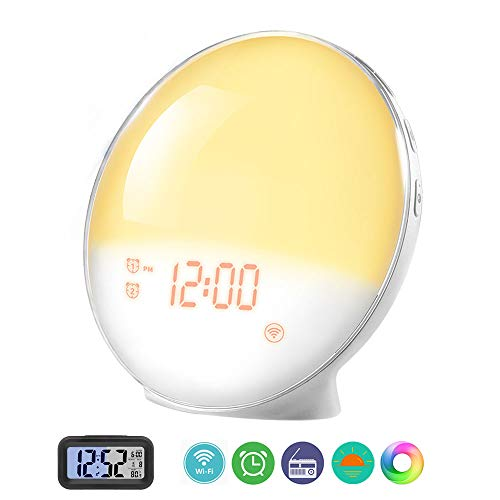 Prismtec Sunrise Alarm Clock, Smart Wake Up Light APP Controllable, FM Radio Clock with 4 Alarms, Natural Sounds, 7 Colors, Sleep Aid, Night Light