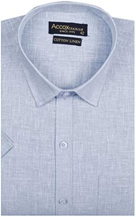 ACCOX Men's Half Sleeves Formal Regular Fit Cotton Linen Shirt(GC309)