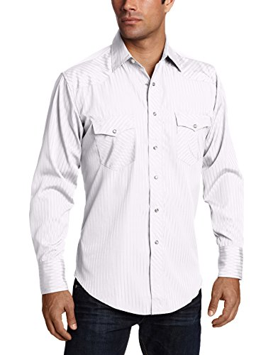 Wrangler Men's Sport Western Two Pocket Long Sleeve Snap Shirt, White, M