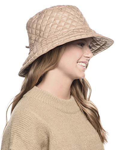 ANGELA & WILLIAM Foldable Water Repellent Quilted Rain Hat w/Adjustable Drawstring, Bucket Cap