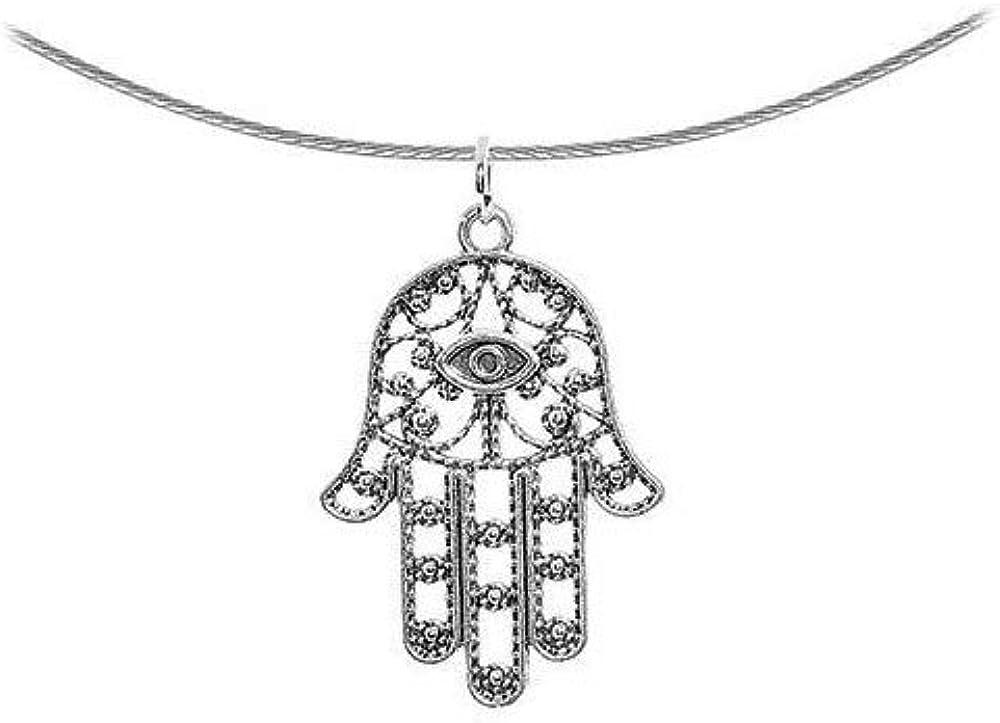 yati/_bo 1 Pcs Intricate Silver Hamsa Hand Pendant Choker Necklace 17.5 Inch