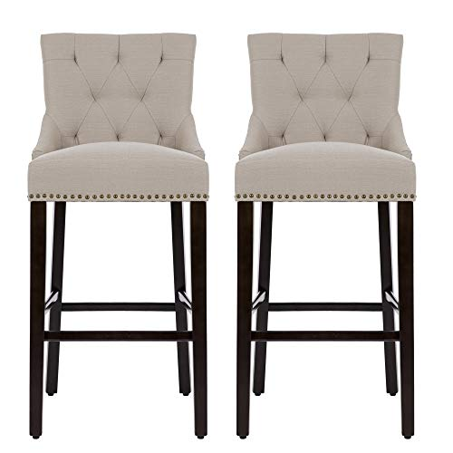 NOBPEINT 30 inch Bar Stools with Polished Nailhead Wood Legs in Tan,Set of 2 Review