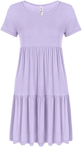 Simlu Lilac Casual Dresses For Women Purple Short Sleeve reg and Plus Size T Shirt Tunic Dress Lavender Large, Lavender, Large ()