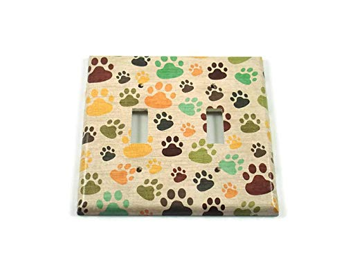 Double Light Switch Plate Paw Print (165D)