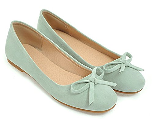 Aisun Women's Sweet Square Toe Faux Suede Flat Loafer Shoes Green 7dRuLB5i