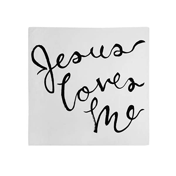 DEMDACO Jesus Loves Me Black White 47 x 47 Muslin Fabric Nursery Photo Swaddling Blanket