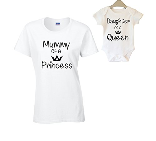 Mother and Daughter Matching T-Shirt and Vest Women Kids New Born Gift Baby Shower (Medium & 3-6 Months, Design 1)