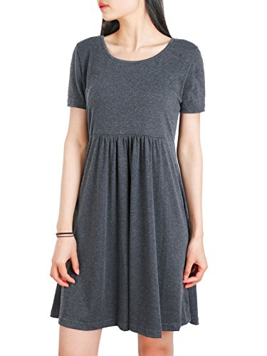 Anna Smith Flared Blouse, Ladies Contemporary Designer Novelty O Neck Tunic Dresses for Women Front Rushed Decorated Empire Waist Nice Overall Lines Casual Dressy Tops Dark Grey XL (Cotton Overalls Smith)