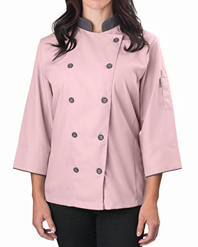KNG Womens ¾ Sleeve Active Chef Coat, Pink with Slate Accent, M ()